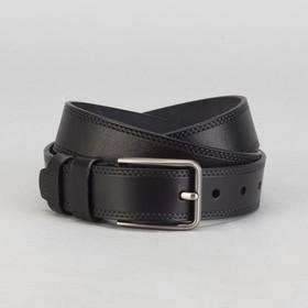 Men's belt, screw, buckle under the dark metal, width 3.5 cm, color black smooth
