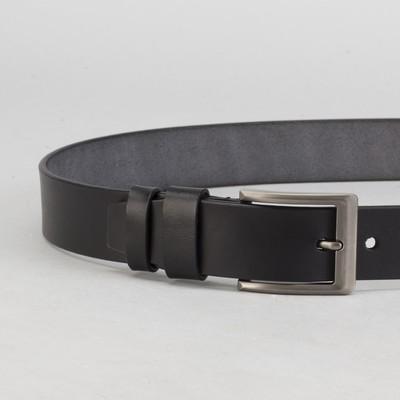 Ремень мужской, винт, пряжка под тёмный металл, ширина - 4 см, цвет чёрный гладкий