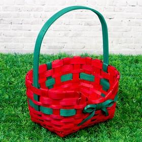 Корзина «Бантик», красная, 27×21×33 см, шпон Ош