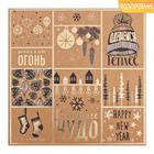 Бумага для скрапбукинга крафтовая с фольгированием «Новогоднее чудо», 20 × 20 см, 300 г/м