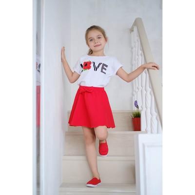 Юбка для девочки, красная, р-р 36 (134-140 см) 9-10 лет, 100% хлопок