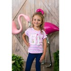 "Girl's t-shirt ""01"", striped, R-R 30 (98-104 cm) 3-4 years 100% cotton"