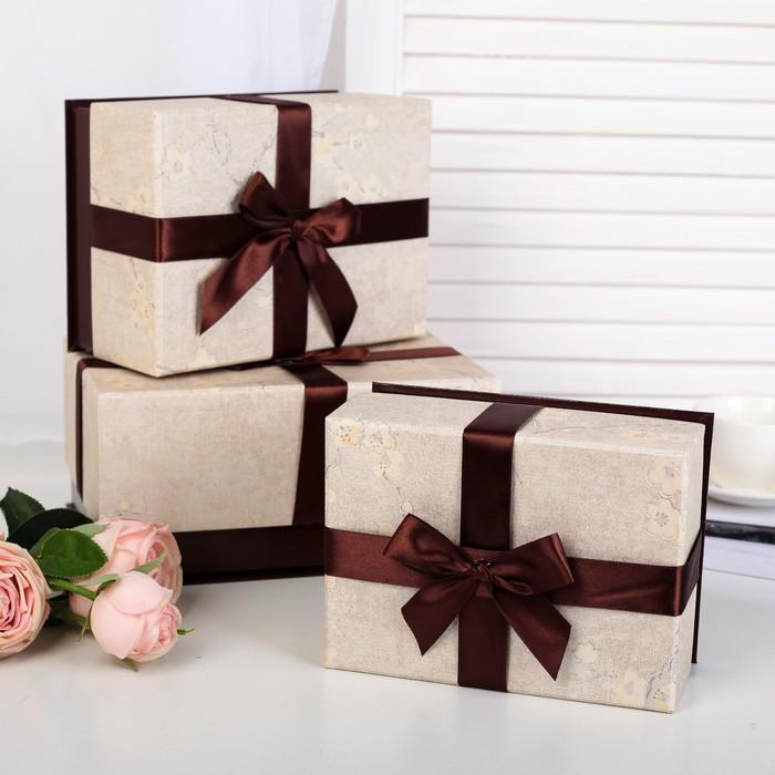 Набор коробок 3 в 1, шоколадный, 25 х 18 х 12 - 19 х 14 х 8 см - фото 725780900