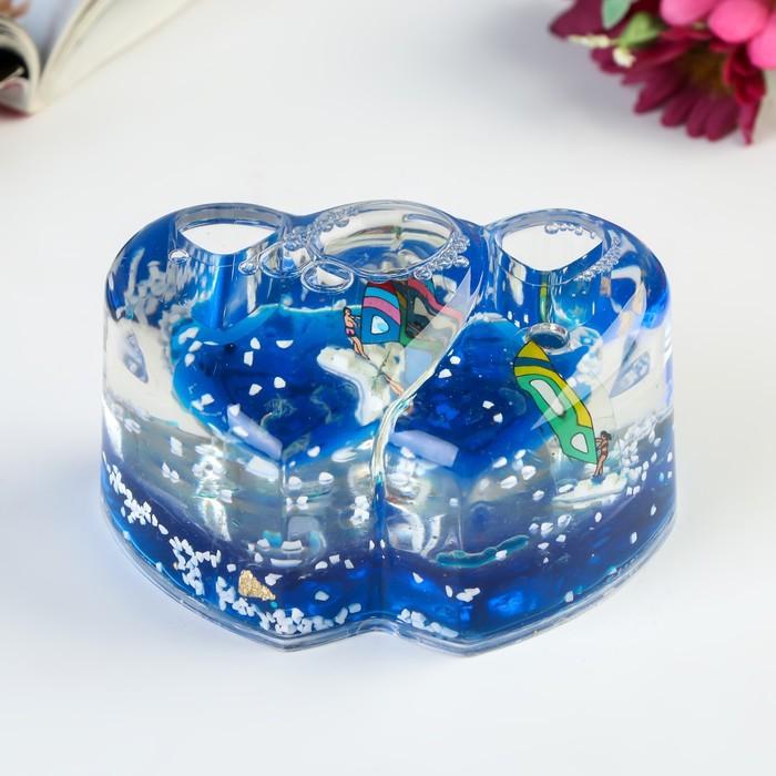 """Сувенир настольный подставка для ручек """"Двойное сердце"""" МИКС 5х9,5х6,5 см"""