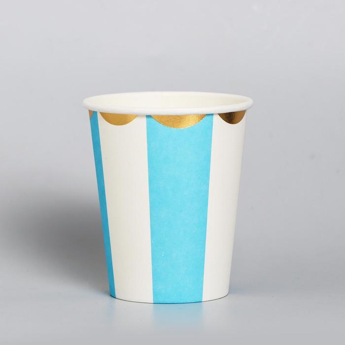 Стакан бумажный «Полоска», набор 6 шт., цвет голубой и белый