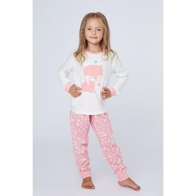 Пижама для девочки, рост 128-134 см (36), цвет бежевый (месяц)