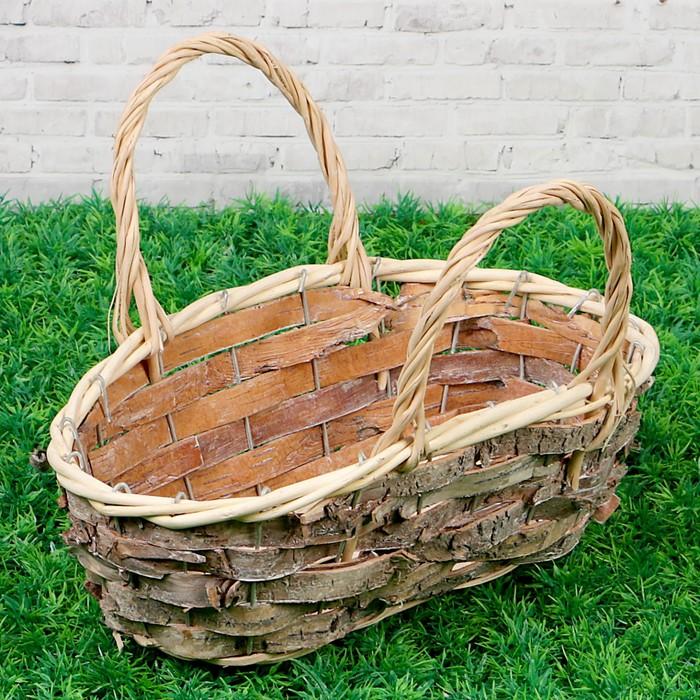 Корзина плетеная, ива, береста, 34х17х11 см