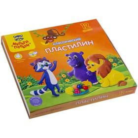 """Пластилин 12 цветов """"Мульти-пульти"""", """"Приключения Енота"""", стек, картонная упаковка, 240 г"""