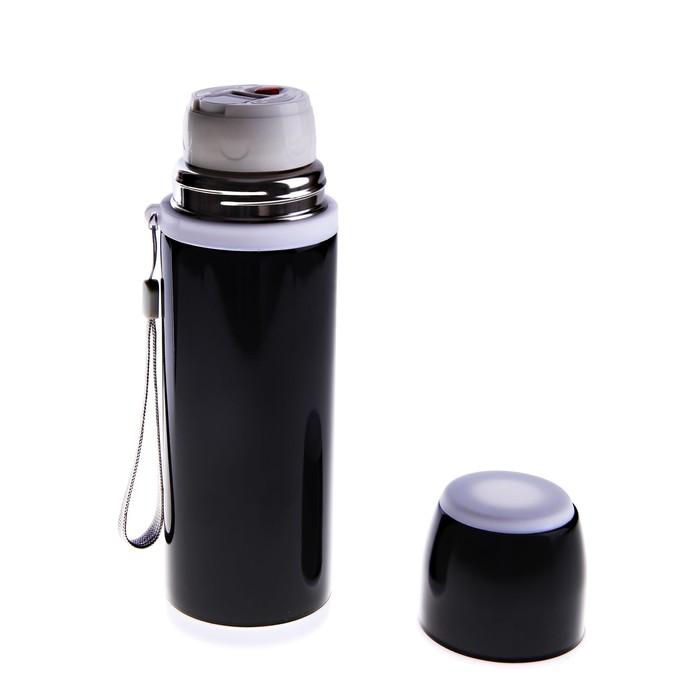 Термос гильза, 500 мл, 1 кружка, чёрный с белым колпачком