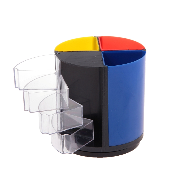 Подставка для пишущих принадлежностей Дольки с выдвижными отделениями пластик МИКС