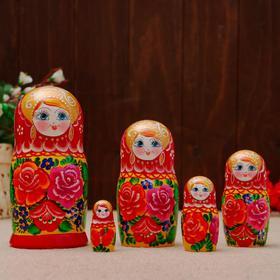 "Matryoshka doll ""rose"", Burgundy handkerchief, 5 puppet, 18 cm"