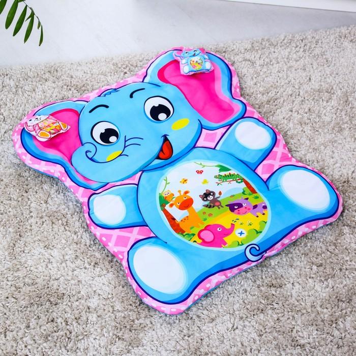 Развивающий коврик детский «Слоник», 2 игрушки - фото 687071401