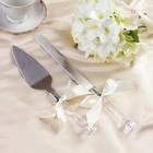 """Набор """"Свадебный"""" для торта с бантом шампань: нож и лопатка"""