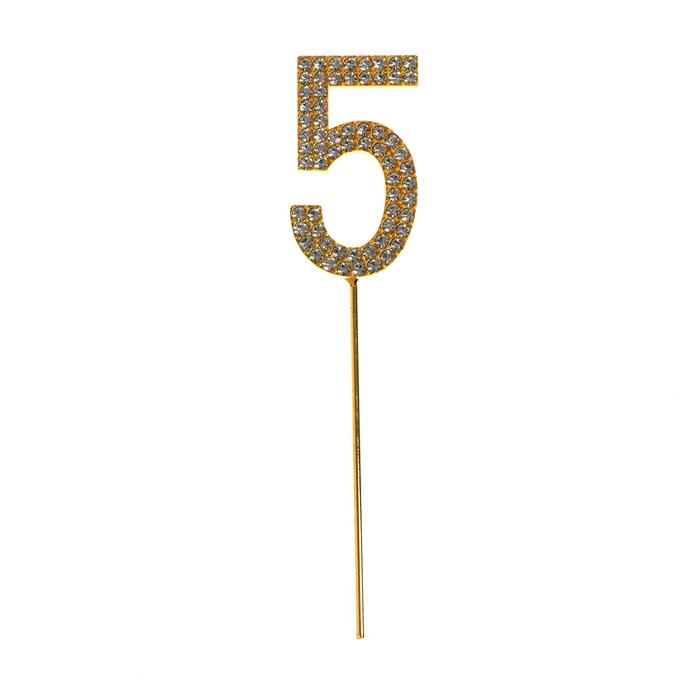 "The topper for the cake ""5"" with rhinestones, gold color"