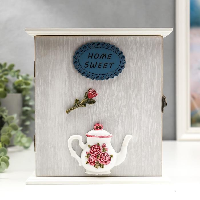 """Ключница дерево 6 крючков """"Чайничек с розами"""" 22,5х21х6,5 см"""