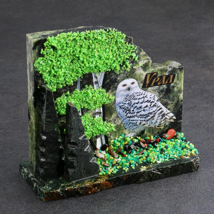 """Сувенир-скол """"Сова"""", змеевик, каменная крошка, большой"""
