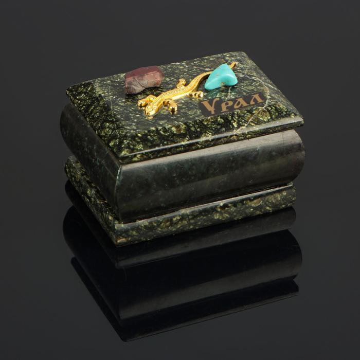 """Шкатулка """"Урал"""" прямоугольная, змеевик, с декоративным камнем, 7,5х5,5х5,5 см"""