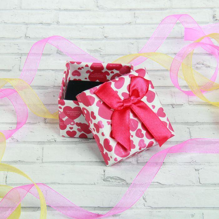 "Коробочка подарочная под кольцо ""Сердца"", 5*5, цвет розово-белый"