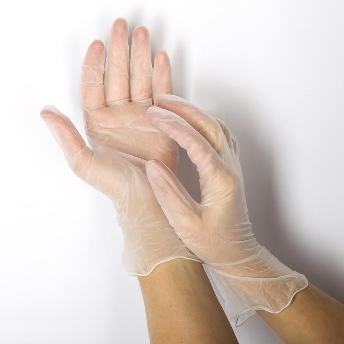 Перчатки из полимерной пленки, виниловые, 10 шт, размер М