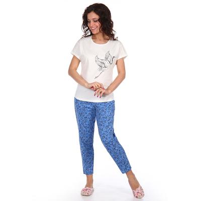 Комплект женский (туника, бриджи) Есения цвет белый с синим, р-р 56