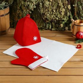 """Набор банный подарочный """"Зимушка"""" ( коврик, рукавица, шапка), войлок, красная"""