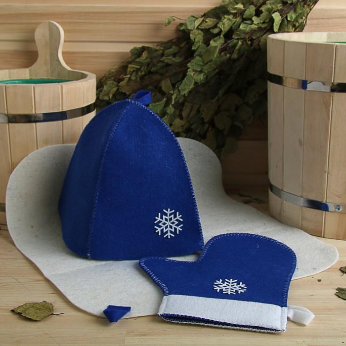 """Набор банный подарочный """"Зимушка"""" ( коврик, рукавица, шапка), войлок, синяя"""
