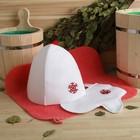 """Набор банный """"Снежинка"""" (коврик, рукавица, шапка), экофетр, красный"""