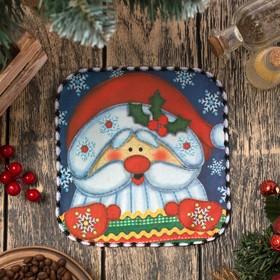 Полотенце микрофибра 'Доляна' Дед Мороз, 20х20 см, 400 гр/м2 Ош