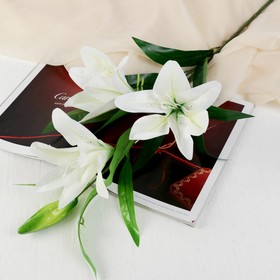 """Artificial flowers """"Three lilies"""" 18*90 cm, white"""