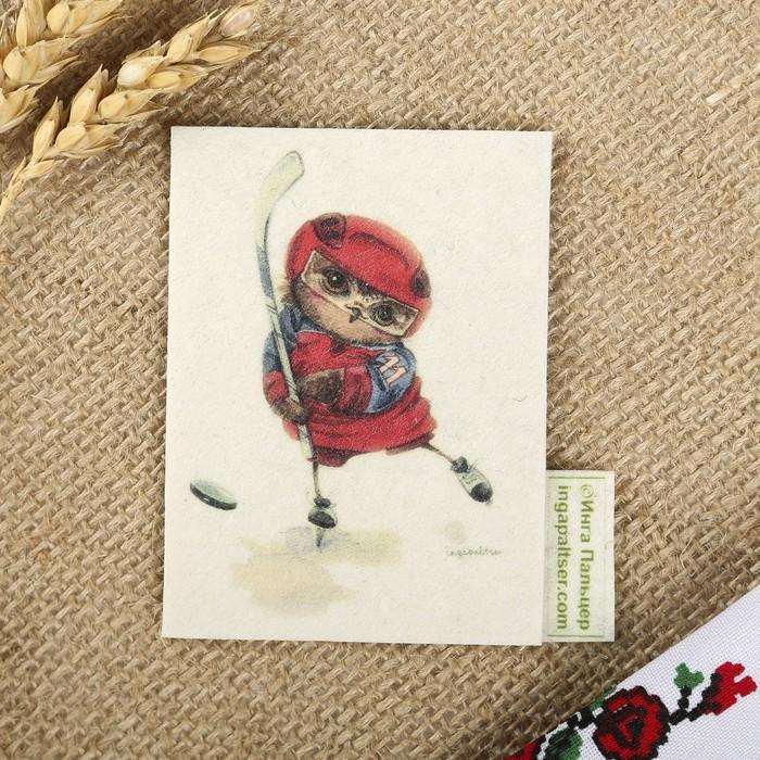 """Магнит из войлока """"Хоккеист""""с авторскими рисунками Инги Пальцер"""