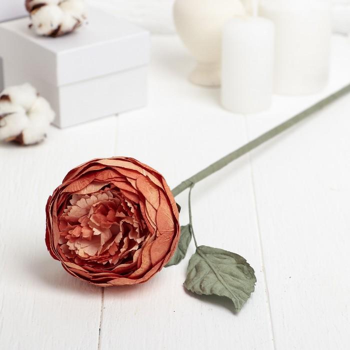 """Искусственный цветок """"Круглый пион"""" оранжевый 40 см"""