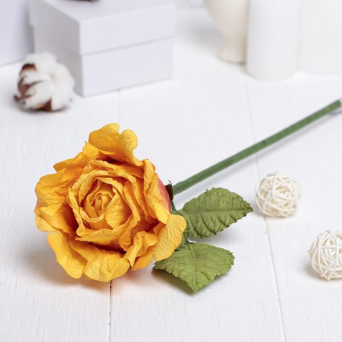 """Искусственный цветок """"Роза Леди"""" жёлто-красный 44 см"""