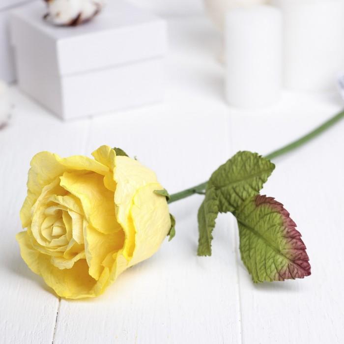 """Искусственный цветок """"Роза Леди"""" жёлтый 44 см"""