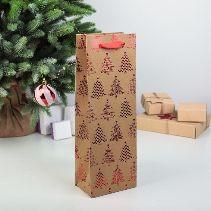 Пакет подарочный под бутылку, 12 х 8 х 35 см
