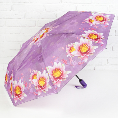 """Umbrella semi-automatic """"Blooming Lotus"""", 3 addition, 8 spokes, R = 49 cm, colour purple"""