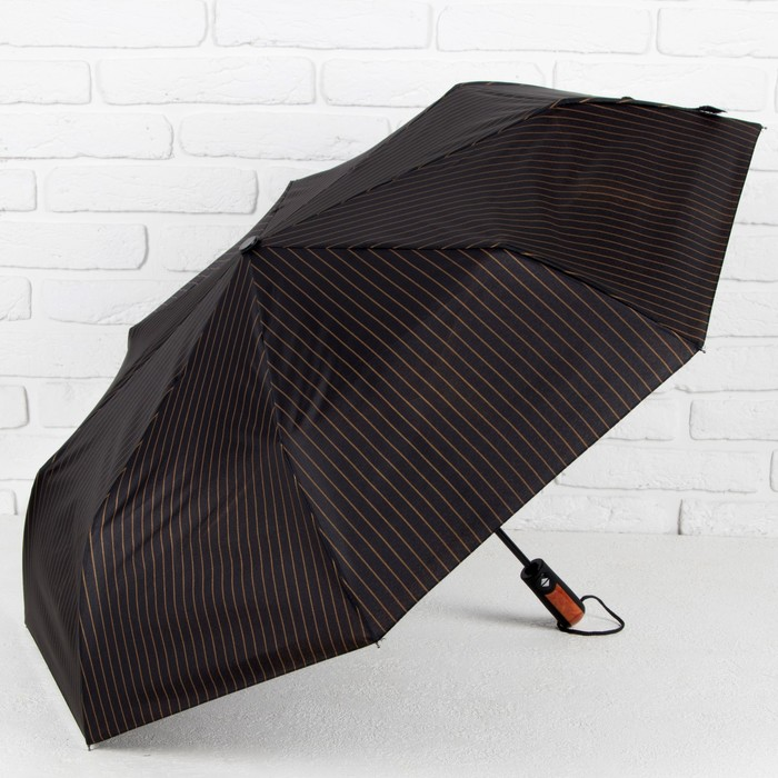 Зонт автоматический «Полоска», 3 сложения, 8 спиц, R = 50 см, цвет чёрный
