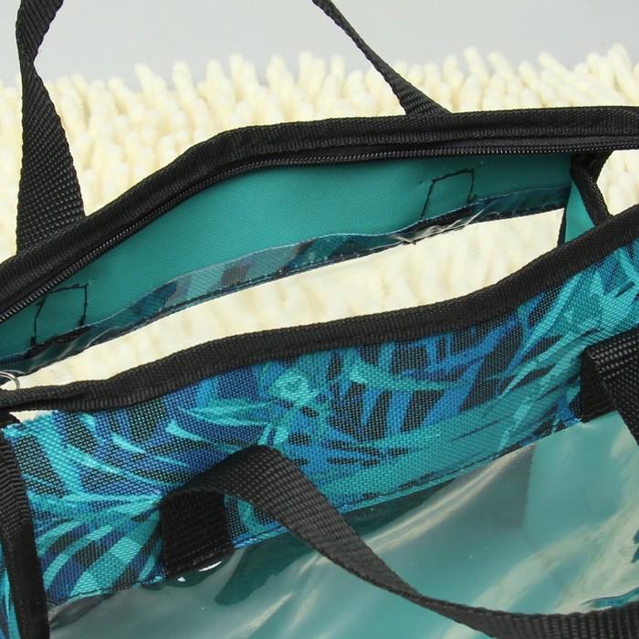 Косметичка ПВХ, отдел на молнии, 2 ручки, цвет бирюзовый
