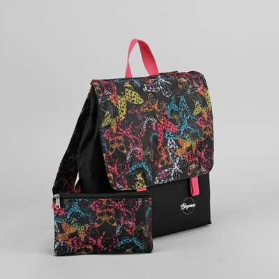 """Рюкзак молодёжный """"Бабочки"""", с косметичкой, отдел на молнии, принт чёрный/цветной"""