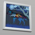 """3D-аппликация из бумаги """"Ночной волк"""""""