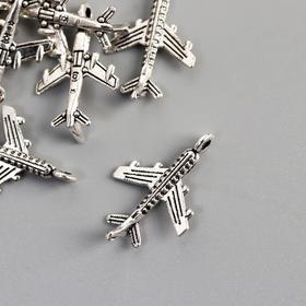 Декор для творчества металл 'Самолёт' серебро 1,8х1,2 см Ош