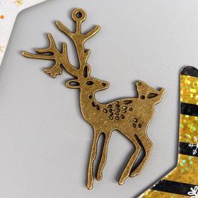 "Decor art metal ""Deer with bird"" 6x4,8 cm"