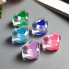 """Набор бусин для творчества пластик """"Цветное сердце внутри прозрачного"""" 15 гр 1,7х1,7 см"""