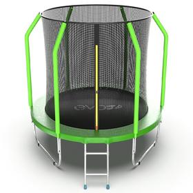 Батут EVO JUMP Cosmo Internal 10 ft, d=305 см, с внутренней сеткой и лестницей, зелёный