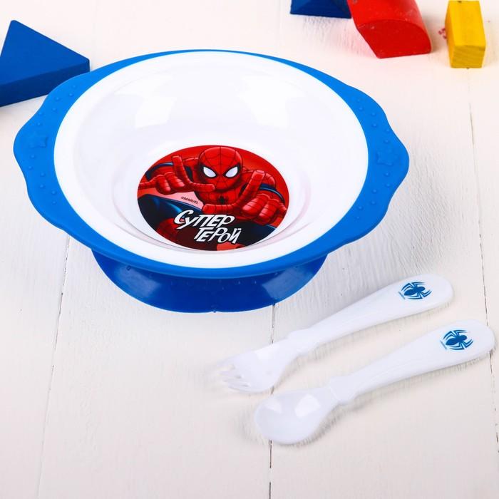 """Посуда детская """"Супергерой"""" Человек-паук, тарелка на присоске, вилка, ложка"""
