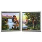 """Модульная картина """"Водопад в лесу"""" (33х36-2 шт) 36х72 см"""