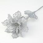 """Декор """"Сияние"""" пышный цветок, 16*64 см, серебро"""