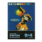 Картон цветной А4, 12 листoв, 12 цветов Tobot, мелованный, 8 стандартных цветов + 4 метализированных листа