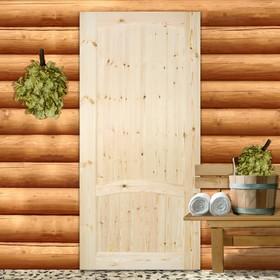 Полотно дверное глухое 90x200 см, массив хвои, цвет натуральный