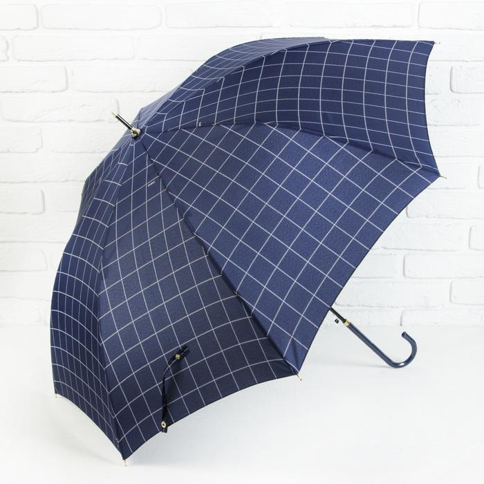 Зонт полуавтоматический «Клетка», 8 спиц, R = 50 см, цвет синий