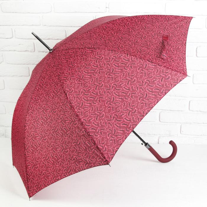 Зонт полуавтоматический «Колоски», 8 спиц, R = 52 см, цвет красный